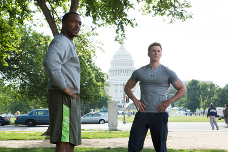 Sam Wilson (Falcon) and Steve Rogers meet in the park