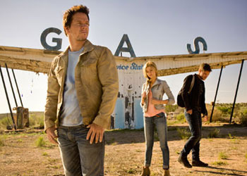 Mark Wahlberg, Nicola Peltz, and Jack Reynor in Transformers: Age of Extinction
