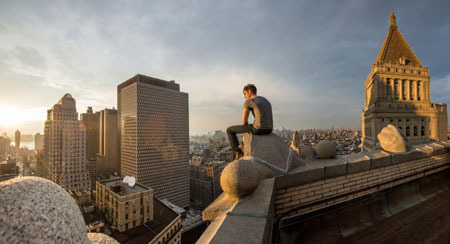 High above the city, Peter worries