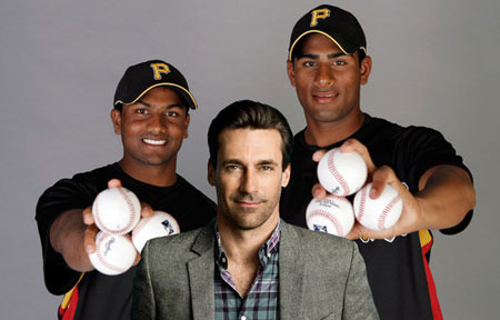 Jon Hamm (J.B. with the real Rinku and Dinesh)