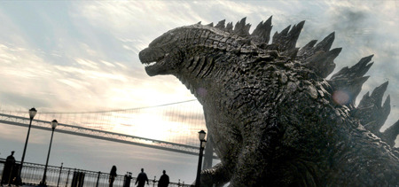 Godzilla strolls on a bridge