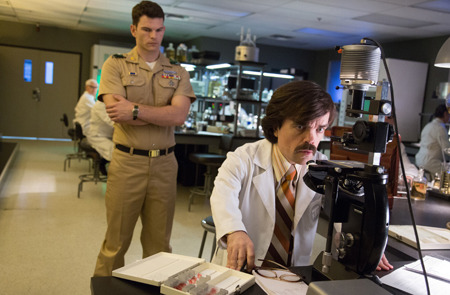 Dr. Trask (Peter Dinklage, seated) plots to kill all mutants