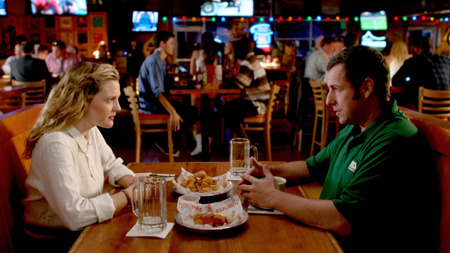 Lauren (Drew) and Jim (Adam Sandler) on awkward first date
