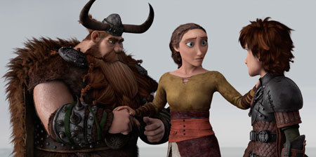 Stoick and Valka reunite with Hiccup