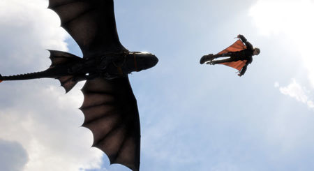Hiccup and Toothless practice flying moves