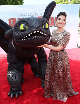 America at the premiere with Toothless