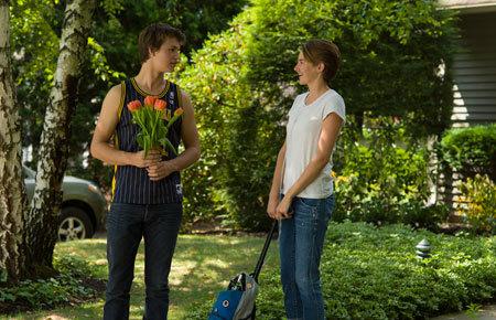 Gus brings flowers to Hazel