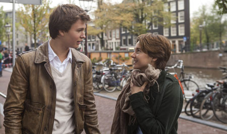 Hazel (Shailene) and Augustus (Ansel) get to know each other