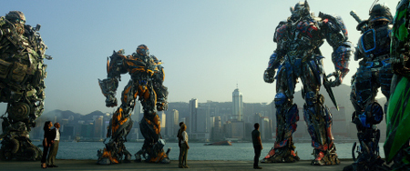 Good guy Transformers and human pals assemble