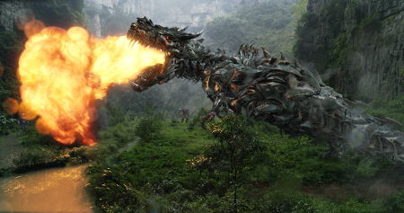 A huge Dinobot in action