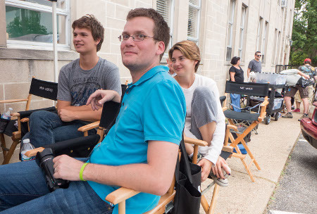 Shailene and Ansel on set with author John Green