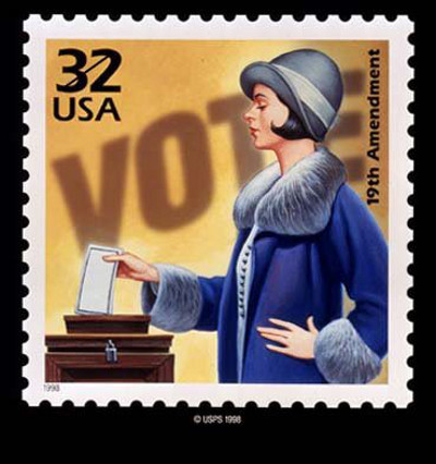 This stamp commemorates women getting the vote