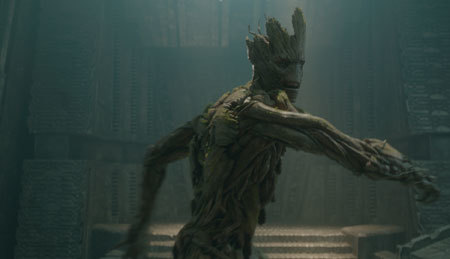 Groot (voice of Vin Diesel) goes into action