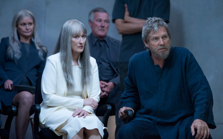 Meryl Streep as Elder leader with Jeff Bridges as The Giver