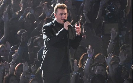 Sam Smith performing the popular hit Stay With Me