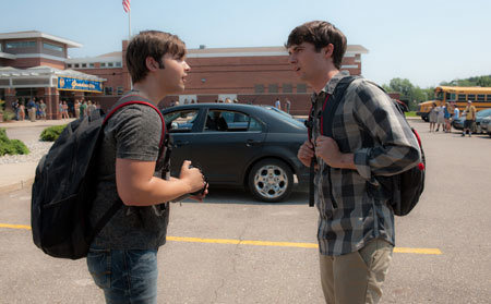 Trey (Nathan Kress) and Donnie (Max Deacon) outside school