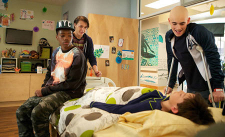 Jordi (Nolan), Dash (Astro) and Leo (Charlie) visit comatose patient