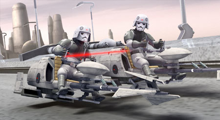 Stormtroopers chase Ezra
