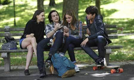 Beckett (on phone) and her pals plus love Tobey