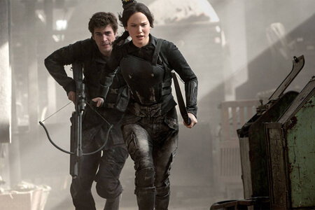 Katniss and Gale run for safety