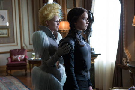 Effie (Elizabeth Banks) with Katniss
