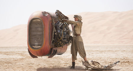 Rey (Daisy Ridley) in the desert
