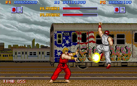 The very first Ken vs Ryu battle.