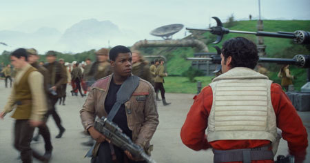 Finn and Poe prepare for battle