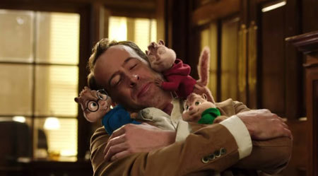 Chipmunks and human dad cuddle