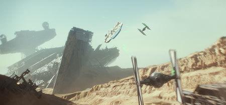 The Millennium Falcon vs. TIE fighters