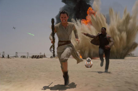 Rey and Finn search for an escape ship