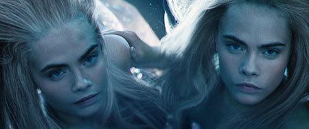 Cara Delevigne as two mermaids