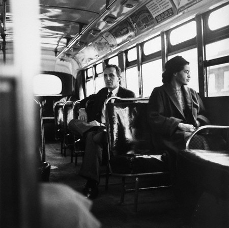 Rosa Parks on a Montgomery Bus the day it was desegregated