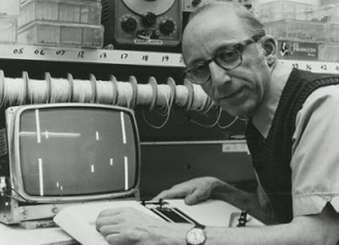Ralph H. Baer messing around with one of his games.