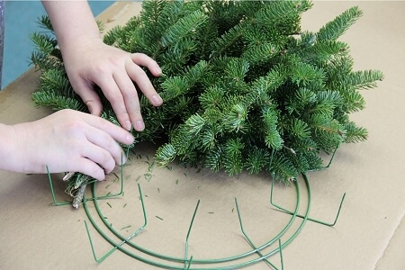 You can even buy wire frames that include extra wire that you can use to attach your branches.