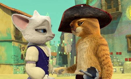 Puss dedicates himself to protecting San Lorenzo, including its most beautiful cat, Dulcinea