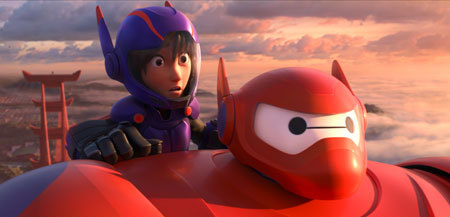Hiro and flying Baymax