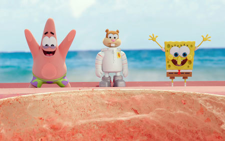 Patrick, Sandy and SpongeBob on land