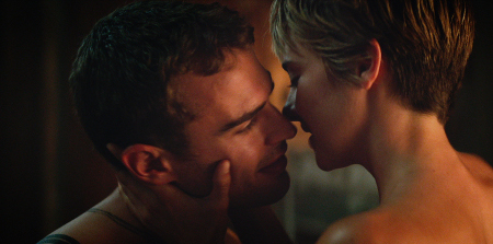 Four (Theo James) and Tris (Shailene Woodley) get personal