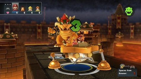 Bowser attempts to steal your hearts before you nab the star in Bowser Party mode.