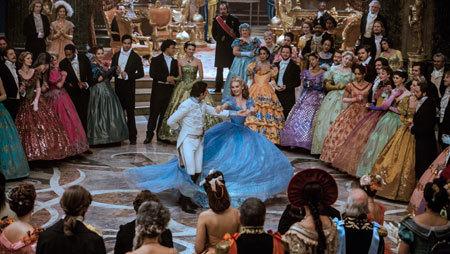 Maneuvering around the huge dress