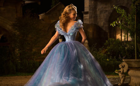 Cinderella admires her gorgeous ball gown