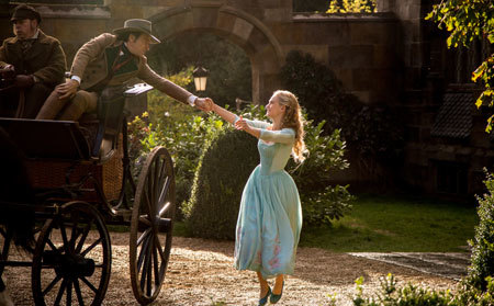 Cinderella (Lily James) says goodbye to her father