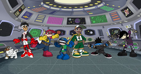 """Evil do-ers beware, there's a new group of heroes in town!"""" or """"Captain Grindstar, Kid Voltage and the rest of the Super Grinders"""