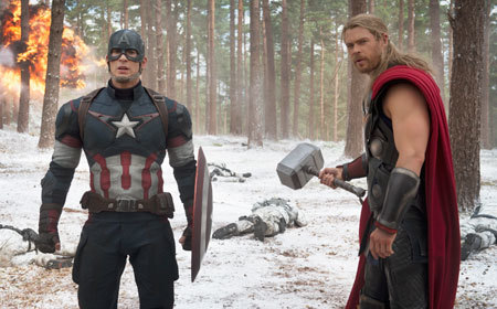 Captain America and Thor survey battle damage