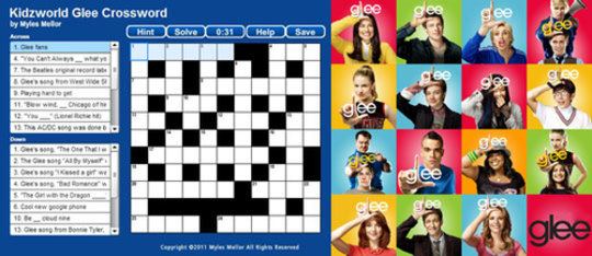 Glee Crossword Puzzle