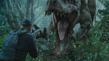 Soldier confronts Indominus Rex