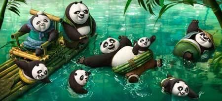 Po frolicking in the panda village's hot spring