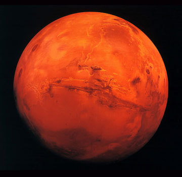Mars is a firey red color