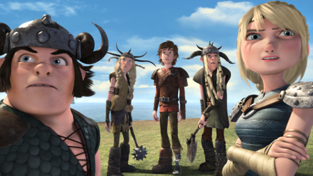 Hiccup (center) and the dragon riders look to the skies!